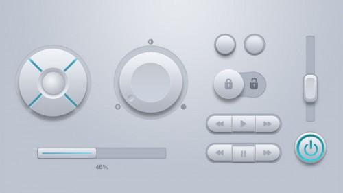 白い丸い Web ボタン UI キット PSD