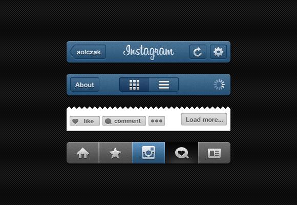 インスタ GUI - PSD Instagram UI