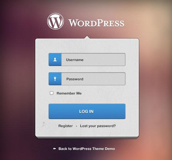 ワードプレスのログイン フォーム PSD