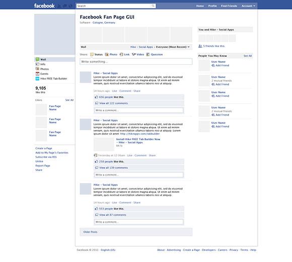 Facebook のファンのページ PSD モックアップ