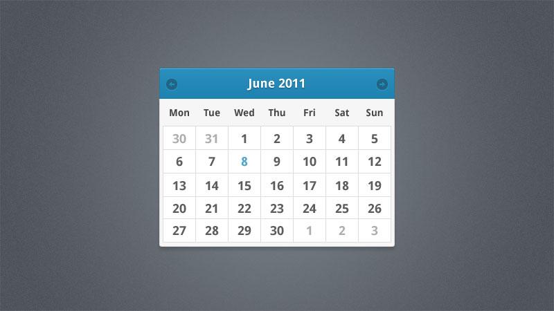 ミニマリストの PSD はカレンダーのウィジェット