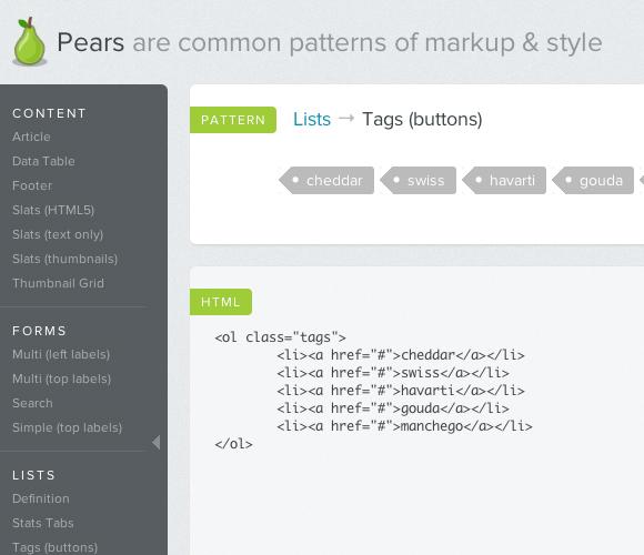Pea.rs - 一般的なマークアップとスタイルのコレクション
