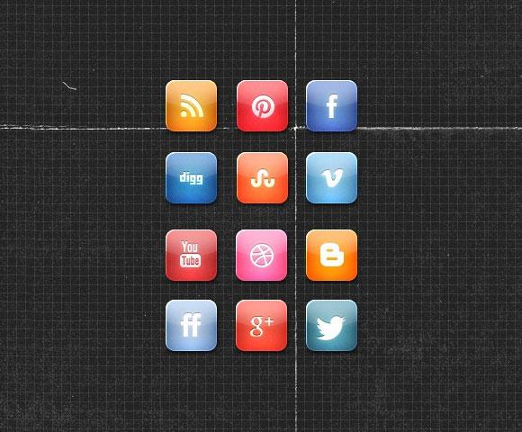 光沢のある無料のソーシャルメディア アイコン セット PSD