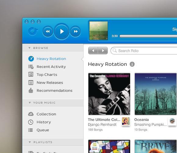 Rdio OS X の音楽アプリ PSD モックアップ