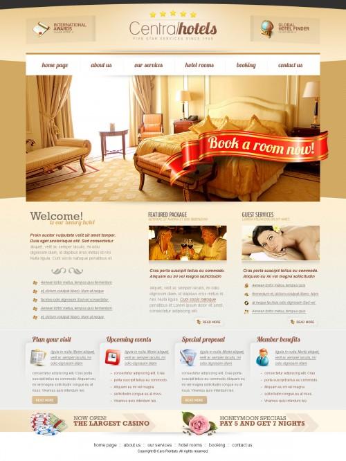 セントラル ホテル PSD ウェブサイト テンプレート