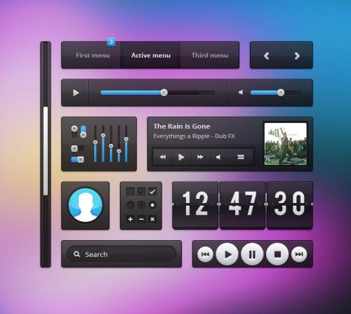 透明な UI キット PSD