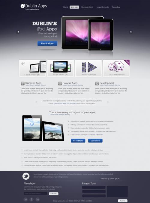 ダブリン iPad & iPhone アプリ Web テンプレート psd ファイル