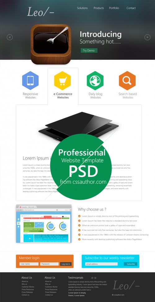レオ ウェブサイト デザイン テンプレート psd ファイル