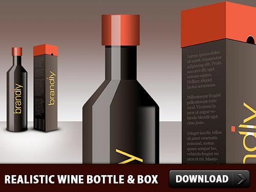 現実的なワインのボトルとボックスの psd ファイル