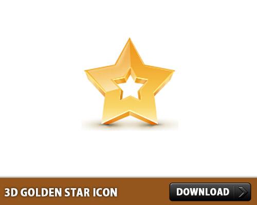 3 D ゴールデン スター アイコン PSD
