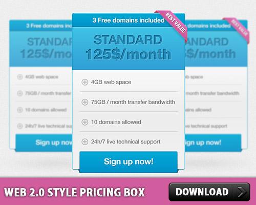 Web 2.0 のスタイル ボックス PSD の価格