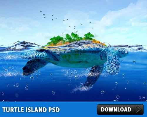 タートル アイランド無料の PSD ファイル