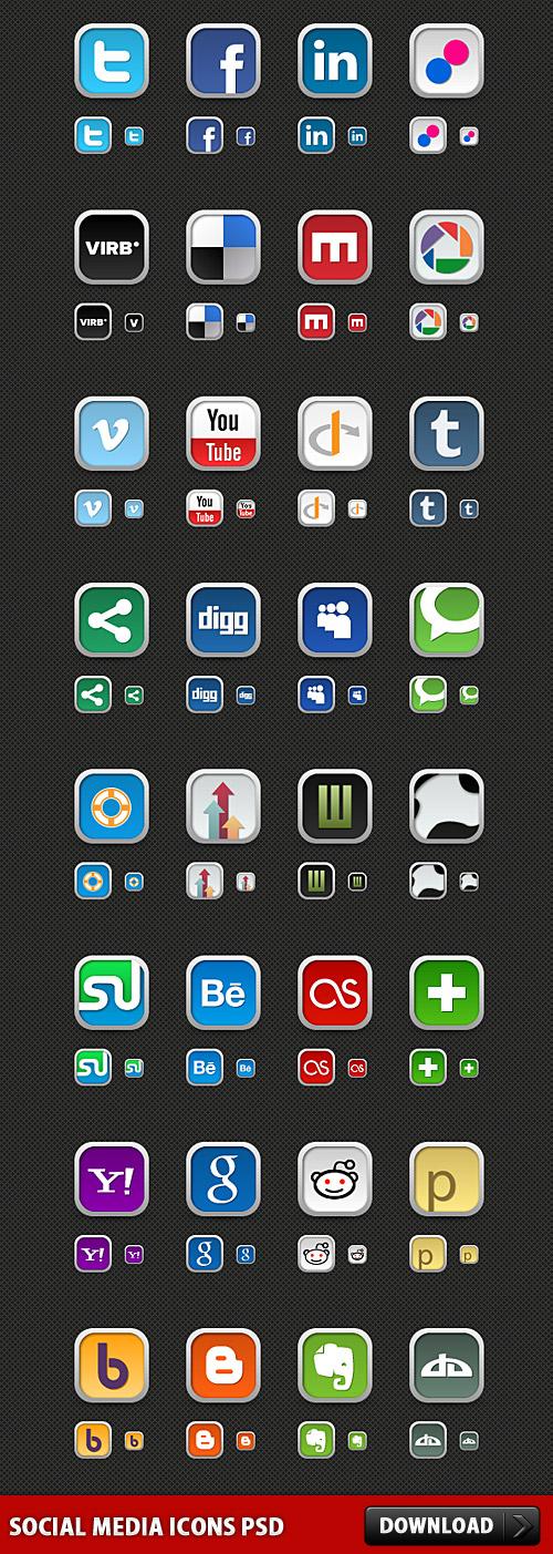 ソーシャル メディアのアイコン PSD