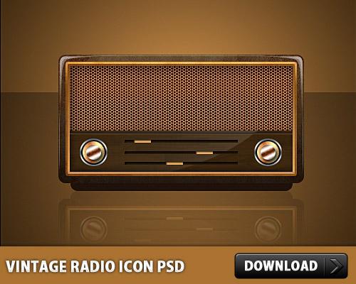 ビンテージ ラジオ アイコン PSD