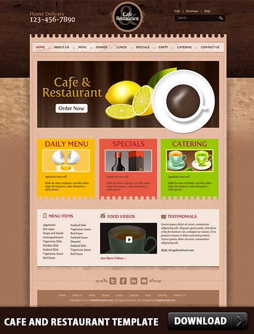 カフェ & レストラン テンプレート psd ファイル