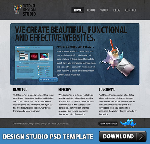 デザイン スタジオ無料の PSD テンプレート