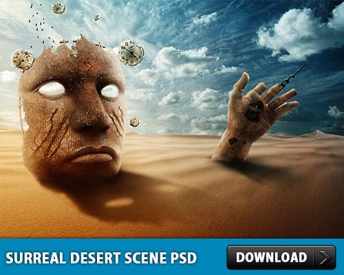 非現実的な砂漠場面 PSD