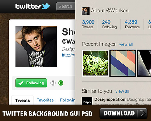 Twitter の背景 GUI Photoshop psd ファイル
