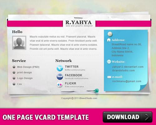 1 つのページ vCard テンプレート