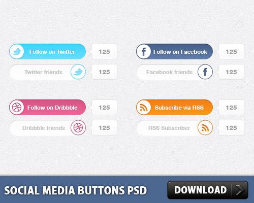 ソーシャル メディアのボタンの psd ファイル