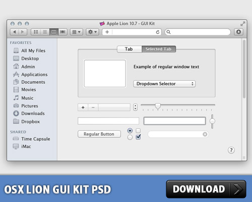 OSX ライオン GUI キット無料 psd ファイル