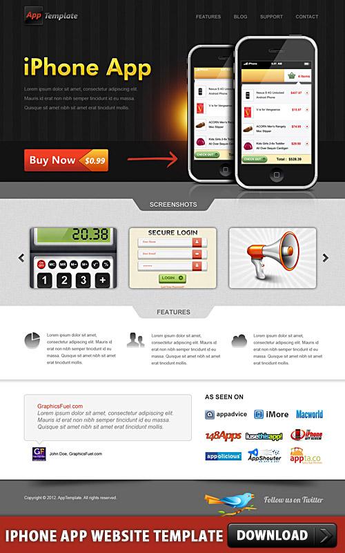 iPhone アプリのウェブサイト テンプレート psd ファイル