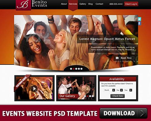 イベントは、ウェブサイトの PSD テンプレート