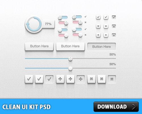 クリーンな UI キット PSD