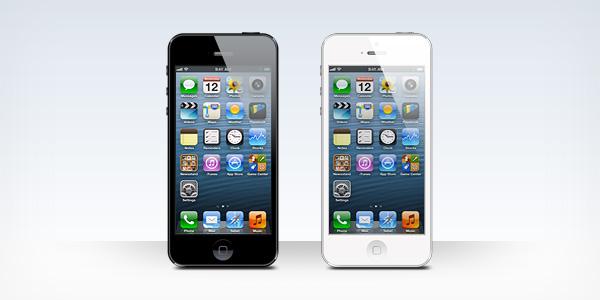 iPhone 5 黒と白の空白の PSD テンプレート