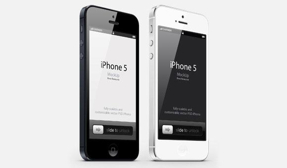 3/4 ビュー iPhone 5 Psd ベクトル モックアップ