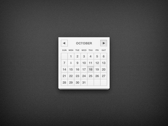 カレンダー UI PSD