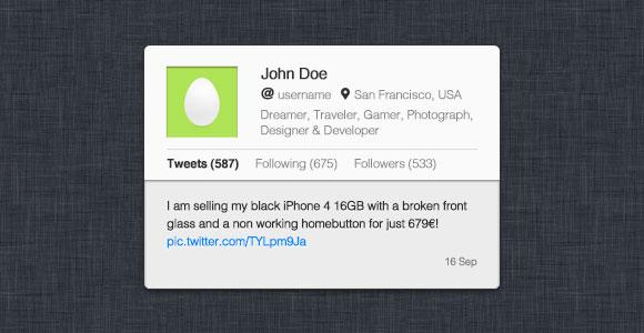 Twitter のプロフィール ウィジット PSSD