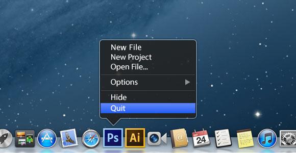 OS X のドック メニュー ツールヒント PSD