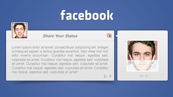 フェイス ブックの投稿 UI PSD