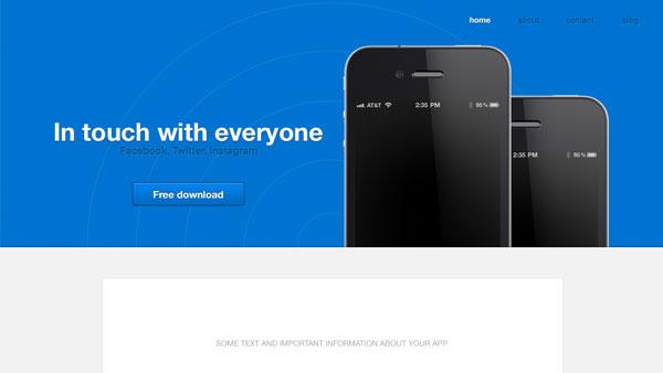 iPhone アプリ PSD のウェブサイト テンプレート