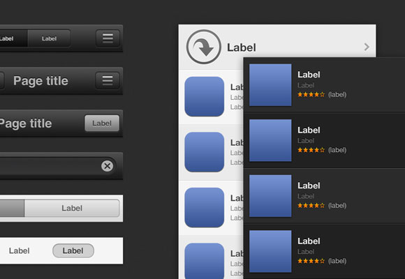 iOS6 iTunes App ストアの GUI 無料 psd ファイル