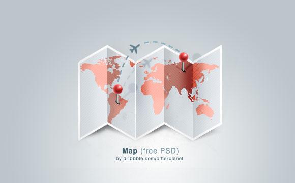 ピン留めされた地図無料 psd ファイル
