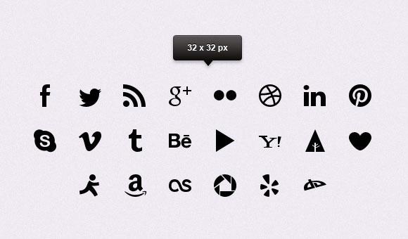 3 新しい Google webfonts単純な社会的なアイコン vol1 PSD