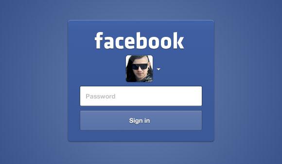 Facebook のログイン UI PSD