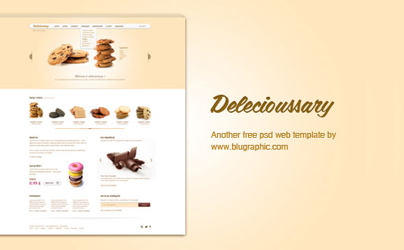 Delecioussary 無料 PSD のウェブサイト テンプレート