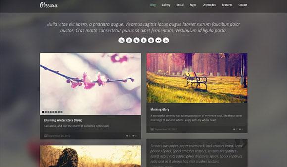 左: 豪華な無料のワードプレス テーマオブスクラ - 無料ホームページ PSD