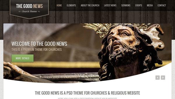 良いニュース - 教会 PSD のテーマ
