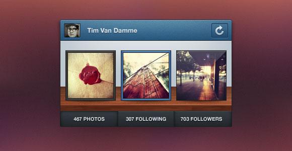 Instagram ミニ プロフィール ウィジット PSD