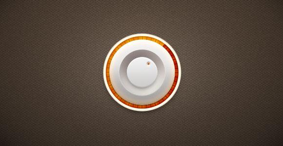 PSD の影と光オレンジ ノブ