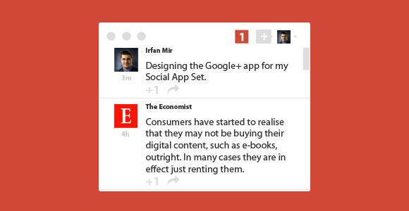 最小限の Google + ストリーム ウィジェット PSD