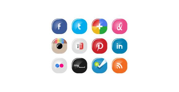 PSD の社会のメディア アイコンを設定