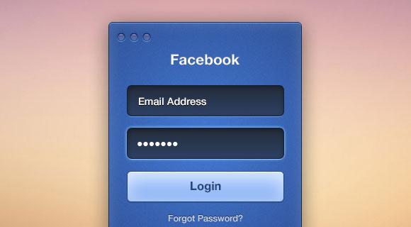 Facebook のログイン フォーム PSD