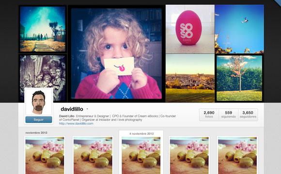 プロファイルを Instagram Web GUI PSD