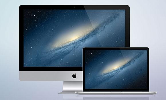 iMac + MacBook 網膜 PSD モックアップ
