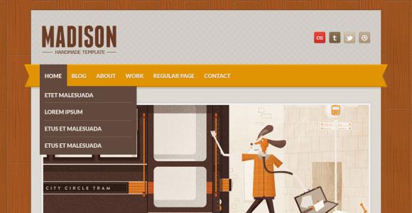 マディソン無料 PSD のウェブサイト テンプレート